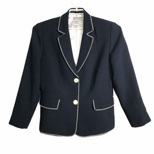 London Fog 10P Navy Blue Blazer White Stitching